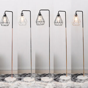 Tall Floor Standing Lamp Reading Room Table Lamps w/ Retro Lampshade+Marble Base
