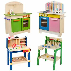 Kids Wooden Work Tool Bench Kitchen Set Pretend Play Toys Cooking