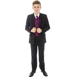 Boys-Black-Suit-5-Piece-Wedding-Page-Boy-Baby-Formal-Party-Smart-Black-Purple