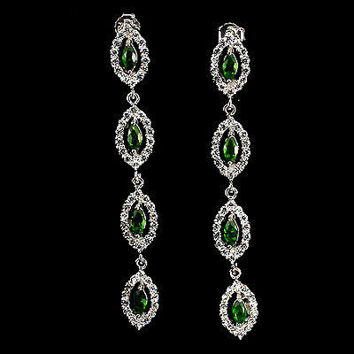 Sterling Silver 925 Genuine Natural Chrome Diopside Long Dangle Earrings