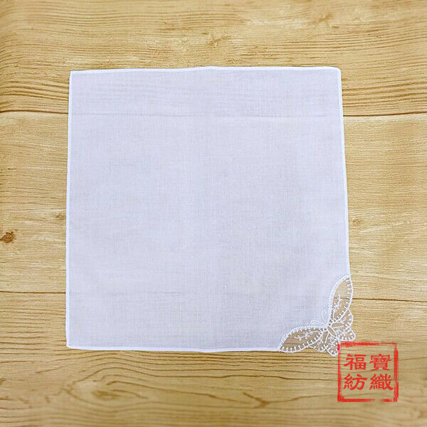 100% Cotton Handkerchiefs Hanky White Butterfly Lace DIY Womens Ladies 28*28mm