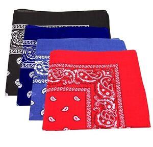 Pack Of 4 Paisley Design Bandanas Royal Blue White Black Red BEST DEAL
