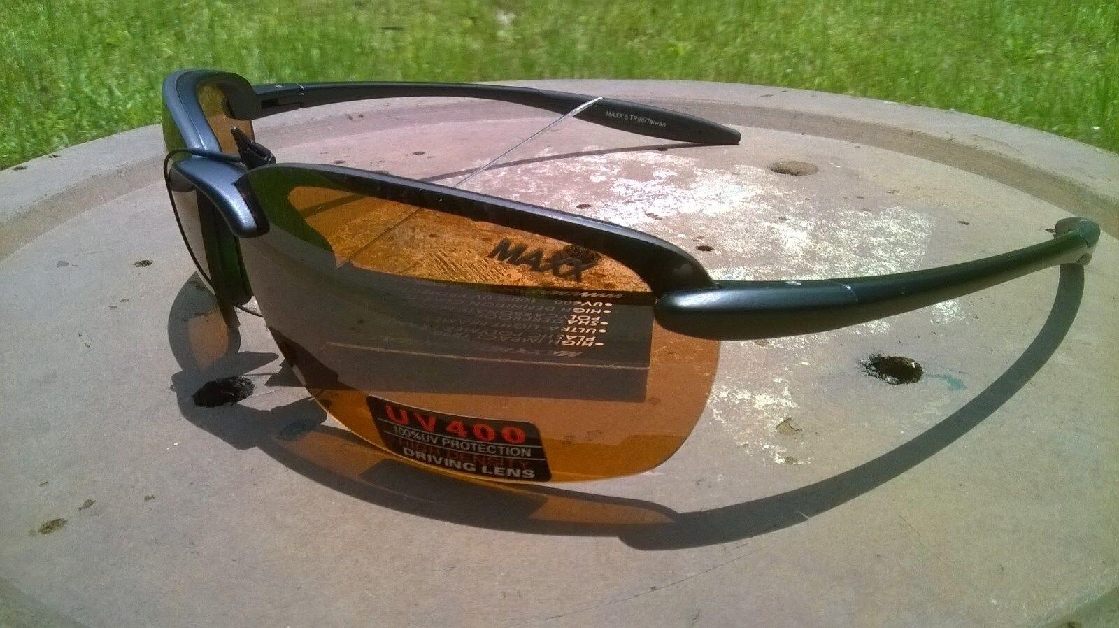 8b8082e48bd29 2017 Maxx Sunglasses Maxx 5 Black Frame Tr90 HD Amber Lenses