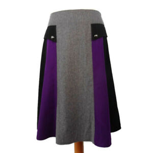 John-Lewis-12-Grey-Purple-Black-Skirt-Wool-Blend-A-Line-Panelled-Winter-Flared