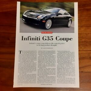 INFINITI G35 COUPE MAGAZINE ARTICLE ROAD TEST CAR AND DRIVER WITH NISSAN 350Z