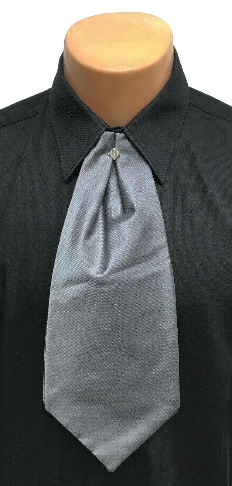 Grey Dark Silver Cravat with Tie Pin Pre-Tied Ascot Necktie Victorian Costume