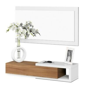 Recibidor-con-espejo-entrada-moderna-acabado-Blanco-Artik-y-Nogal-Noon