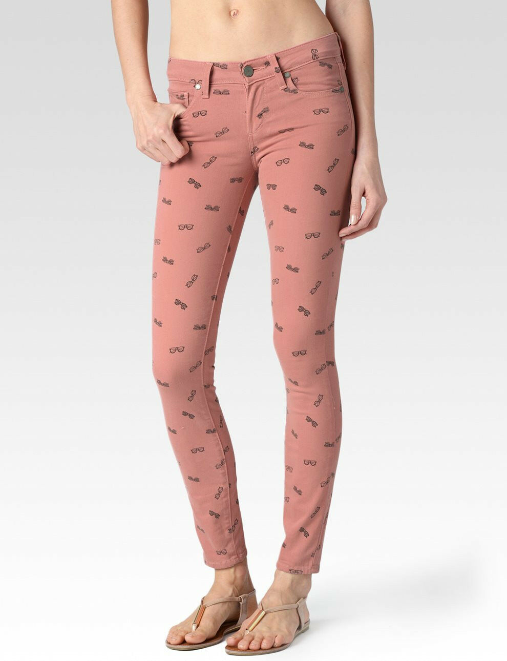 Paige Pink Sunnies Sunglass Print Verdugo Ankle Jeans Sz 25 New