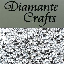 250 x 3mm Silver Square Metal Studs Loose Flat Back Body Art Nail Gems