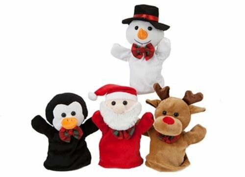 Xmas Hand Puppet Toy Story Play Santa Reindeer Snowman Penguin Frozen Party Gift