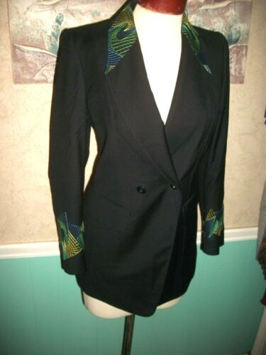 WOMEN'S ESCADA BLAZER JACKET BLACK WITH MOD STITCH