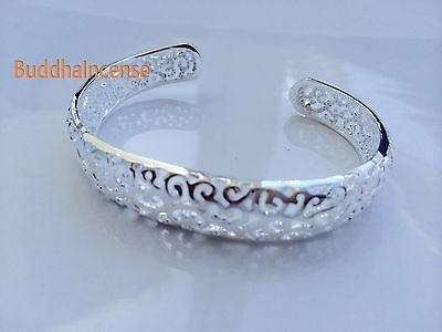 Cuff Silver Plated Hollow Out Bangle with Novel Pattern for Woman