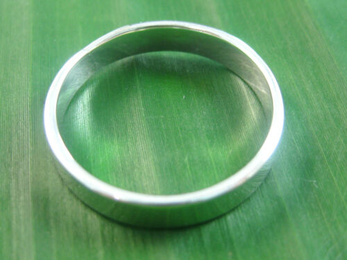 15 US 925 sterling silver plain NORMAL flat 4mm wedding band Ring size 4.75 US