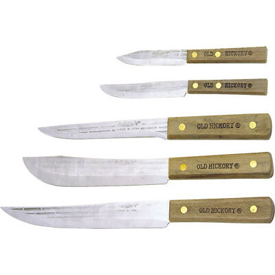 "Old Hickory Knives OH705 Carbon Steel Kitchen Set Contains 8"" Slicer 7"" Butcher"