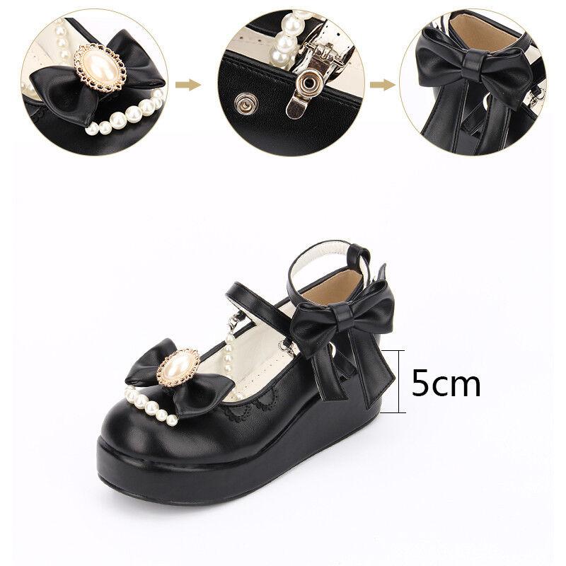Gothic Gothic Gothic Lolita Barock Bow Schwarz Weiß Damen Schuhe Shoes Cosplay Kostüme 81bb6c