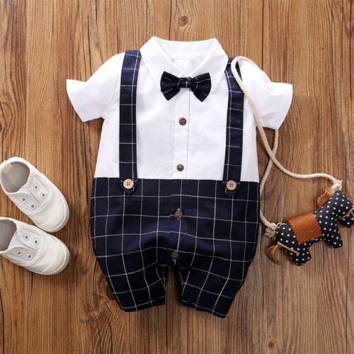 US NEWBORN Baby Boy Formal*Party*Wedding* Bow Romper Bodysuit Jumpsuit Clothes