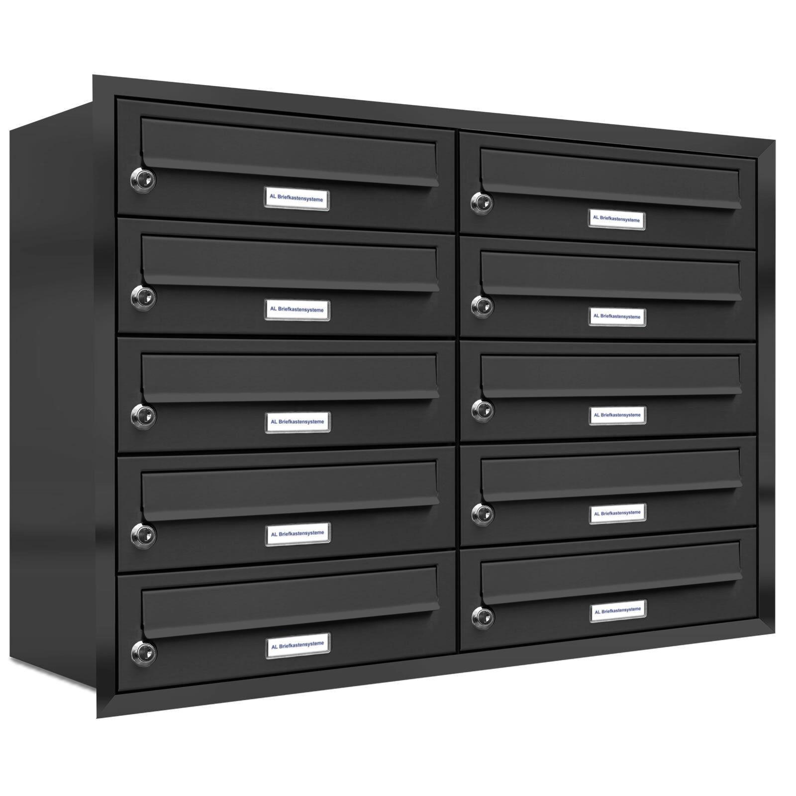 10 er Premium Briefkasten Anthrazit RAL 7016 10 Fach Unterputz Anlage Postkasten