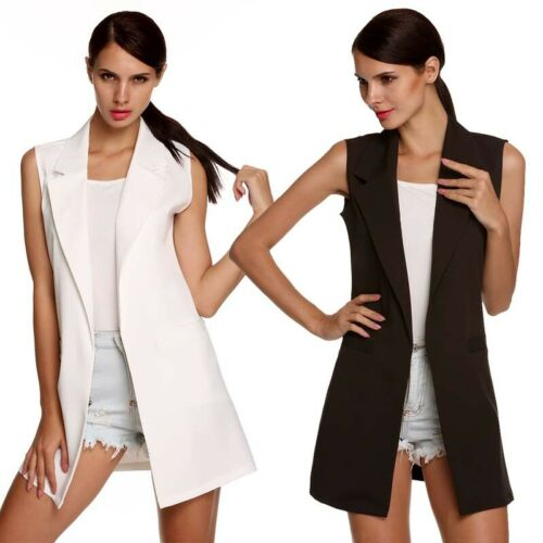 Women Jacket Open Front Sleeveless Long Vest Blazer Work Coat Size:S-2XL