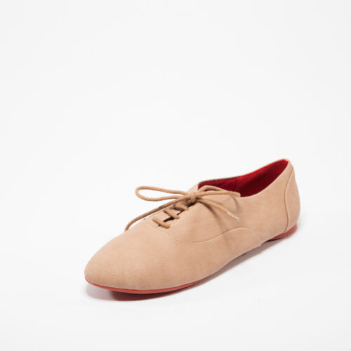 Camel Beige Crinkle Lace Up Flat Women Oxford Shoes Kiss /& Tell Keisha-05