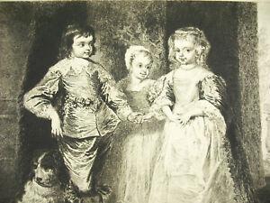 Engraving-c1874-Portrait-of-Enfants-of-Charles-1er-a-Van-Dyck-Sc-ad-Lane