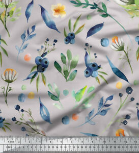 Soimoi-Fabric-Blue-Berries-amp-Leaves-Print-Fabric-by-the-Yard-LF-651G