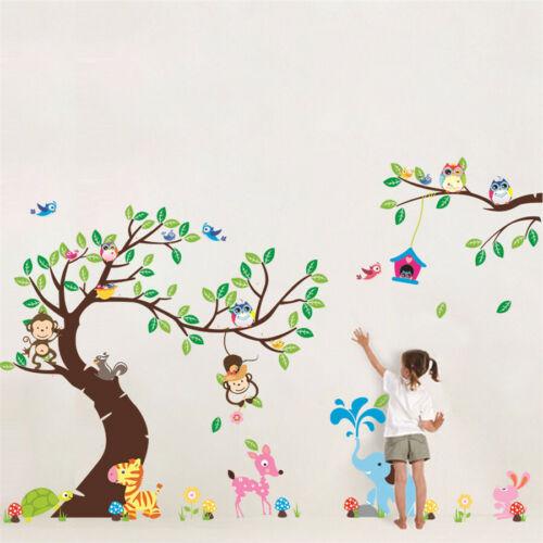 À faire soi-même Owl Cartoon Animal Fleur Branche Autocollant Mural Maison Chambre Enfants Bébé decals
