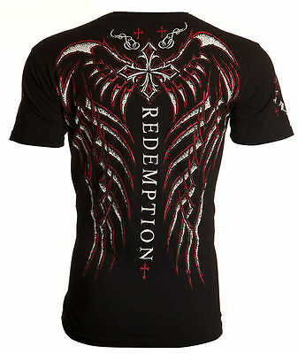 Archaic AFFLICTION Mens T-Shirt SPINE WINGS Cross BLACK Tattoo Biker MMA UFC $40