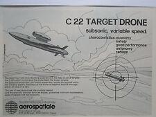 2/1980 PUB AEROSPATIALE ENGIN CIBLE C22 SUBSONIC TARGET DRONE ORIGINAL AD