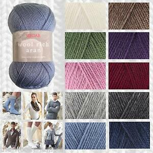 47ebe05ae SIRDAR WOOL RICH ARAN KNITTING YARN 100G - 60% WOOL - ALL SHADE ...