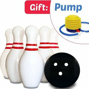 Giant Inflatable Bowling Ball set pins Bowler PUMP Indoor Outdoor Play Gift New