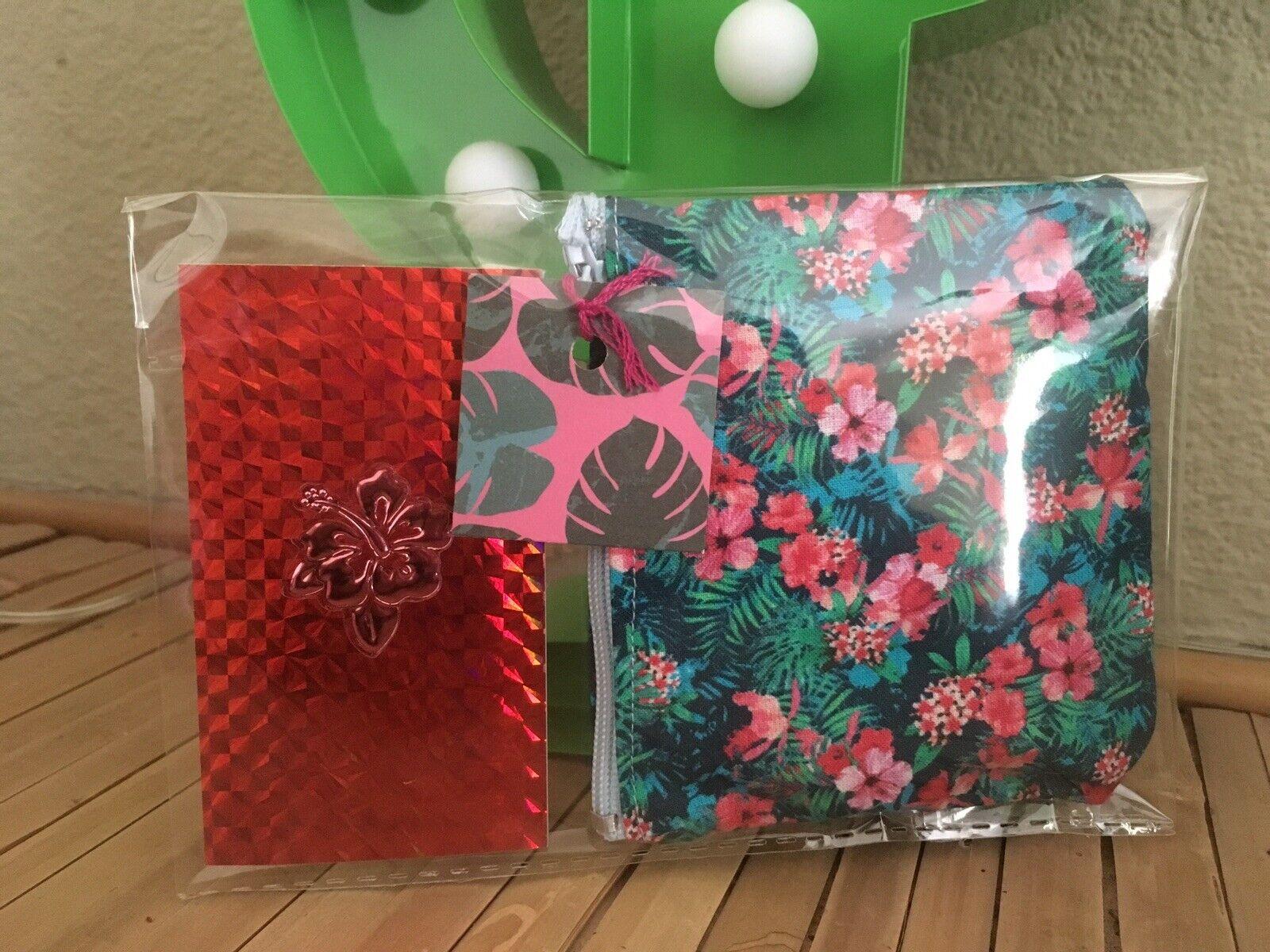 Tropical Floral 🌺 Hibiscus Hawaii Purse & Mini Notebook Jotter 2 Piece Gift Set