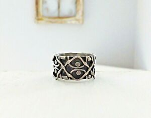 Southwest-Sterling-Silver-925-Handmade-Bead-Weave-Biker-Modernist-Sz-9-Band-Ring