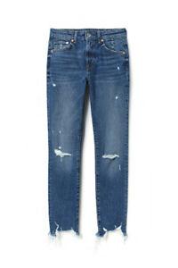 H-amp-M-Skinny-High-Ankle-Jeans-High-Waist-Washed-Blue-Denim-Capri-Women-039-s-Size-28