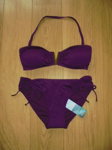 MARKS /& SPENCER Mauve Berry Bandeau Bikini Set Taille UK 10 Femme Taille 8 Pantalon