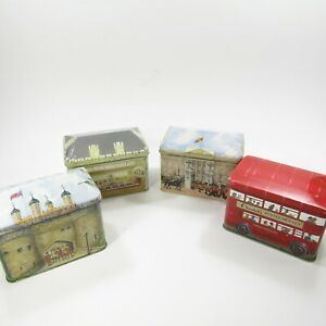 Lot-of-4-Vintage-Churchills-Bentleys-Tins-Bus-Palace-Windsor-Buckingham-EMPTY