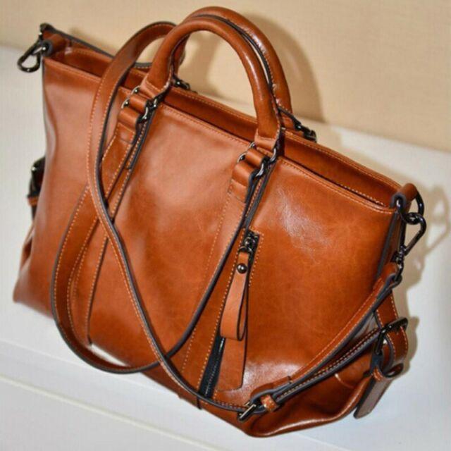 Large Big Capacity Women Handbag Lady Shoulder Bag Tote Oiled PU Leather Brown