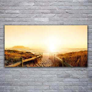 Tulup Wandbilder Glasbilder Dekobild 120x60 Strand Fußpfad Landschaft