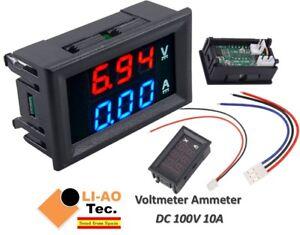 DC-voltimetro-amperimetro-Azul-100V-10A-LED-rojo-voltimetro-digital-doble-amplificador-calibre