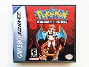 Pokemon-Moemon-Fire-Red-Game-Case-GBA-Gameboy-Advance-Anime-Fan-Made-Mod-USA
