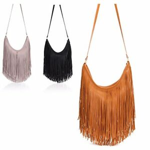 Ladies Fringe Shoulder Bag Tassel Cross Body Bag Messenger Bag ... f640e0e754