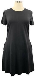 Isaac Mizrahi Live! 1X Black Short Sleeve Knit Dress w/Pockets  A379121