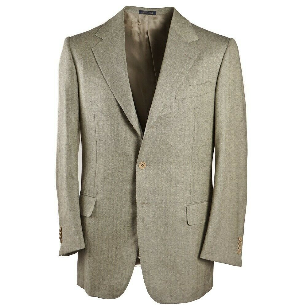 New  SARTORIA CASTANGIA Light Green Herringbone Wool Sport Coat 40 R