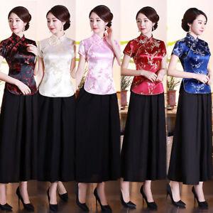 Chinese-Traditional-Tops-Women-Silk-Satin-Shirt-Summer-Blouse-Size-S-4XL
