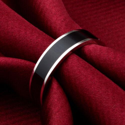Bijoux Black Titanium Band anneau en acier inoxydable taille 16-22  I