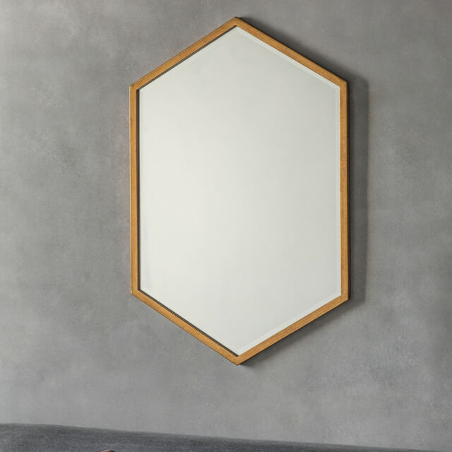 Helston Large Antique Gold Metal Geometric Overmantle Wall Mirror 90cm x 60cm