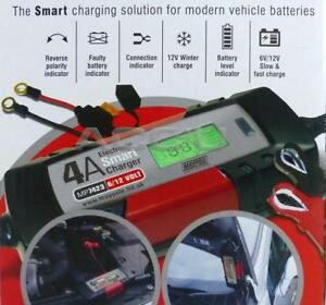 New Maypole 6v 12v 4A Car Bike Electronic 5 Step Automatic Smart Battery Charger
