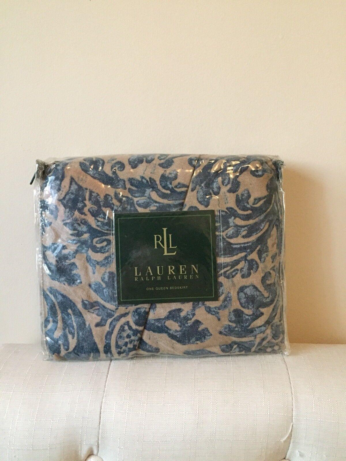 New Ralph Lauren The Landing Damask  Bedskirt  Coastal  100% Cotton