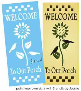 Details about Lg Stencil Welcome To Porch Sunflower Crow Country Check  Border Prim Art Signs