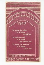 """""""Know the Please of a $...Save One"""" COLUMBUS OH Bank Advertising 1910"""