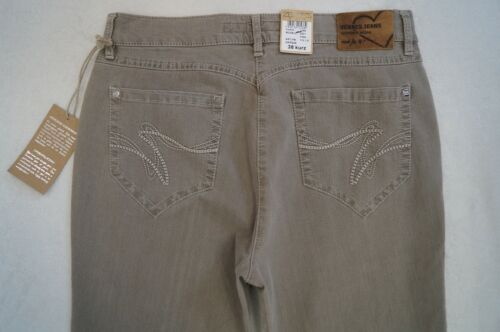 38 ZERRES TINA Straight Jeans Gr.36 48 Short// Regular L30,32 Stretch taupe NEU